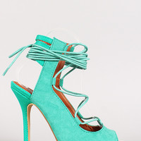 Beauty-1 Lace Up Peep Toe Heel