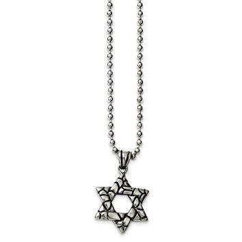 Stainless Steel Antiqued & Polished Star of David Necklace 24in