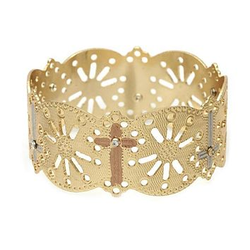 Gold Plated 03.08.0101.05 Individual Bangle, Cross Design, with  Cubic Zirconia, Polished Finish, Tri Tone (25 MM Thickness, Size 5 - 2.50 Diameter)