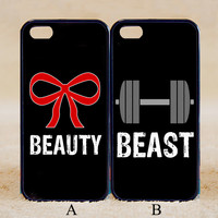 Beauty Beast Pair Couple Case Bow Weights Gym Workout ,iPhone 6+/6/5/5S/5C/4S/4