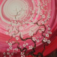 View: Cherry blossom tree Sakura Large painting 110x160 cm unstretched canvas t80 pink art by artist Ksavera | Artfinder