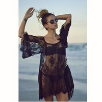 2017 Beach Swimsuit Black Lace Coverup