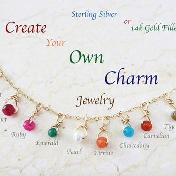 Add a Birthstone, 14k Gold Filled Gemstone Charm, Citrine, Garnet, Chalcedony, Tiger Eye, Emerald, Ruby, Carnelian, Pearl, Rose Quartz Gift