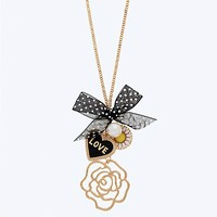 Rose Polka Dot Love Necklace