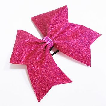 Hot pink glitter cheer bow, Cheer bow, glitter Cheer bow, pink cheer bow, cheerleader bow, cheerleading bow, cheer bows, softball bow, bow