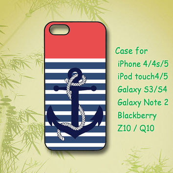 Anchor and Stripes ,iPhone 4 Case, iPhone 5 Case, ipod case, Samsung Galaxy S4, Samsung Galaxy S3, Samsung note 2, blackberry z10, Q10