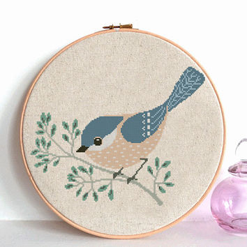 Bird cross stitch pattern pdf, Modern cross stitch pattern, Animals cross stitch Counted cross stitch chart , nursery room decor