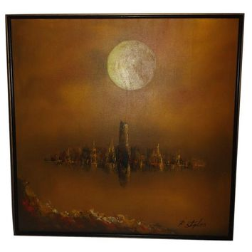 Pre-owned Large Mid-Century Oil on Canvas Painting