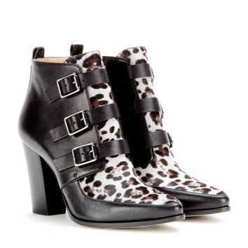 jimmy choo - hutch calf hair and leather ankle boots
