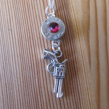 38 Special Bullet Necklace with Pistol Charm and Volcano Rainbow Swarovski Crystal Accents - Small Thin Cut - Charm