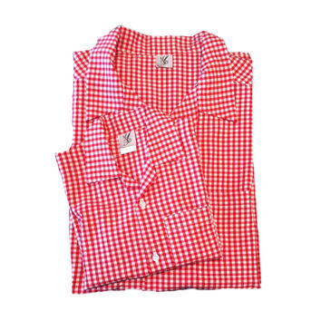 FATHER AND SON MATCHING GINGHAM RED AND WHITE SHIRT by ABYSKIDS