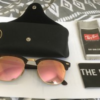 Womens ray ban sunglasses clubmaster rose gold