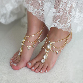 Gold or silver crystal barefoot sandals bridal anklet Beach wedding barefoot sandal foot accessories  Bridal jewelry Bridesmaid gift