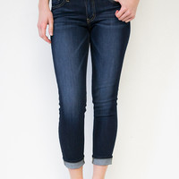 Dark Wash Cropped Skinny Jeans | Flying Monkey