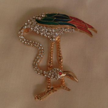 Fabulous Fun Flamingo Rhinestones colorful enamel Brooch Marked Dorlan