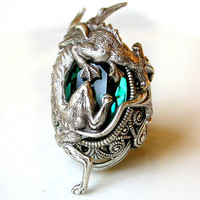 Silver Dragon Ring - Emerald Swarovski - Women Gothic Jewelry