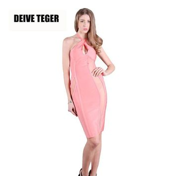 DEIVE TEGER winter SALMON BANDAGE AND MESH BUSTIER DRES Halter Sexy Bandage Vestidos Women Knee-Length Dress