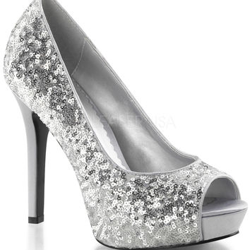 Silver Sequin Peep Toe Pump