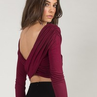 Overlapping Cropped Top - Burgundy