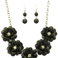 Flower Crystal Stone Necklace and Earring Set