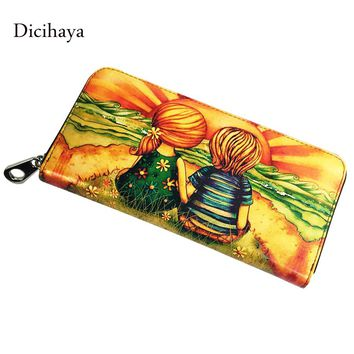 DICIHAYA Brand Design Women Wallets Genuine Leather Woman Purse Female Phone Pocket Long Clutch Wallet Ladies Clutch Hand Bags