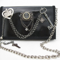 REVAMPED Lady in Waiting Steampunk Victorian Noir Couture Black Patent Leather Purse Goth Wedding Bag