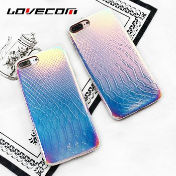 LOVECOM Luxury Allochroic Crocodile Skin Leather Iridescent Laser Soft Phone Back Cover Cases For iPhone 6 6S 7 8 Plus Case