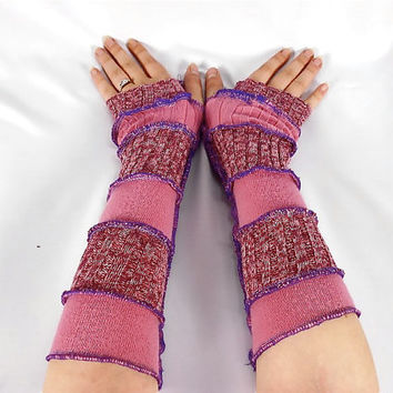 Upcycled Clothing, Katwise Style Armwarmers, Boho Chic, Patchwork Fingerless Gloves, Women's Hippie Accesories, Recycled Sweaters, Purple