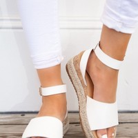 White Platform Espadrille Sandals With Cork