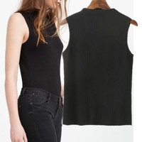 Knit Slim Top Women  Casual Party Wear Holiday Plain Sleeveless Top Shirt Blouse T-Shirt Tank vest_ 4256