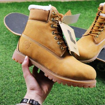PEAPUX5 Timberland Wool Waterproof Soft Toe Boots Wheat Color