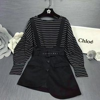 """Chloe"" Women Fashion Stripe Lantern Sleeve Long Sleeve Loose Tops Irregular Back Strap Skirt Set Two-Piece"