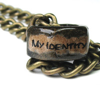 Hex Nut Necklace, Gay Rights, Metal, Homosexual, LGBT, Gender Politics, Lesbian, Sexual Identity, Civil Rights, Relationships, Antique Brass