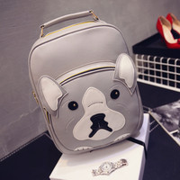 Korean Stylish Dogs Patchwork Rivet Backpack Couple Travel Bags [6583210759]