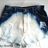 High Waisted Shorts Ombre Wash Ripped Distressed Frayed Torn Jeans Upcycled Clothing 29 Inch Waist