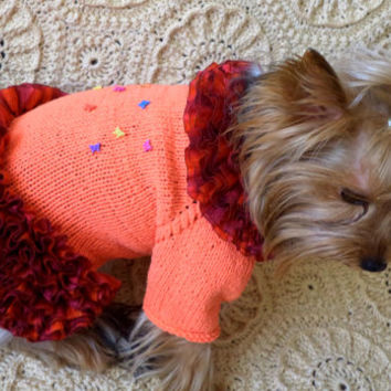 For Dogs:winter dog sweater/ Orange Dog Sweater / Orange Dog Dress / small dog / Dog clothes/ small dog dress/dog sweater/dog clothes