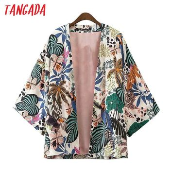 Tangada Women Leaves Print Kimono Jackets Batwing Sleeve Long Sleeve Jacket Coat Boho Fashion 2017 Brand Mujer Coats XD75