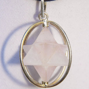 ROSE QUARTZ Crystal Spinning MERKABA Pendant In Cage, Sacred Geometry Merkaba Necklace, With Chain
