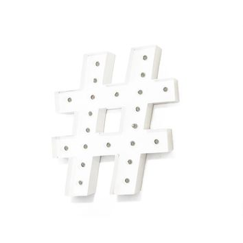 "24"" Hashtag ""#"" Vintage Marquee Lights Sign (White Finish)"