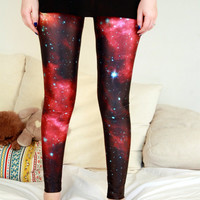 NEW PLANET GALAXY Leggings / Red leggings/ Catsuits/Red Color Bottoms/Sports pants/Designed Leggings/Women Stretch Leggings/Yoga Tights dz71