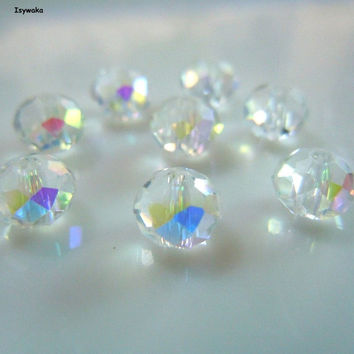 White AB 6*8mm 70pcs Rondelle Austria faceted Crystal Glass Beads Loose Spacer Round Beads for Jewelry Making