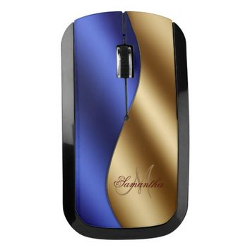 Modern Royal Blue Gold Metal Wave Name Wireless Mouse