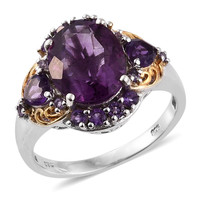 Amethyst and Purple Fluorite Statement Ring