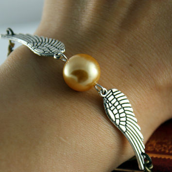 Golden Snitch Bracelet In Silver- Steampunk Harry Potter Golden Snitch Keepsake---On Sale