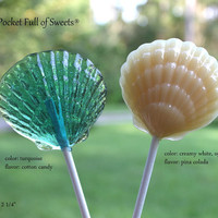 12 BEACH WEDDING Centerpieces Sea Shell Nautical Party Favors Barley Sugar Hard candy Lollipops Suckers Sea Shell Clam Shell