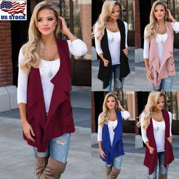 US Womens Sleeveless Cardigan Open Front Draped Solid Autumn Casual Sweater Coat