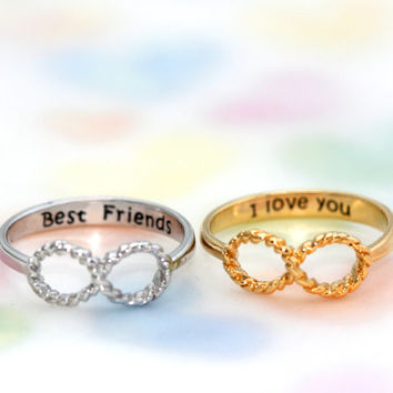 best friend/I love you Message containing an infinity ring /For friendship, love and sympathy of the soul