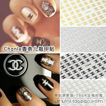 Chanel Inspired Nail Decals Logo Stickers Applique Manicure Pedicure Nail ornaments Nail Sticker