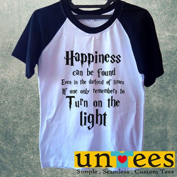 Men's Short Sleeve Raglan Baseball T-shirt - Harry Potter Quotes Happiness Can be Found Even in The Darkest of Times If One Remembers design