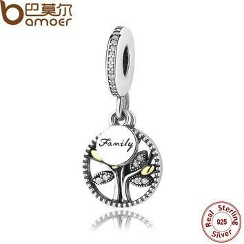 925 Sterling Silver FAMILY TREE SILVER DANGLE WITH AND CLEAR CUBIC ZIRCONIA CHARM Fit